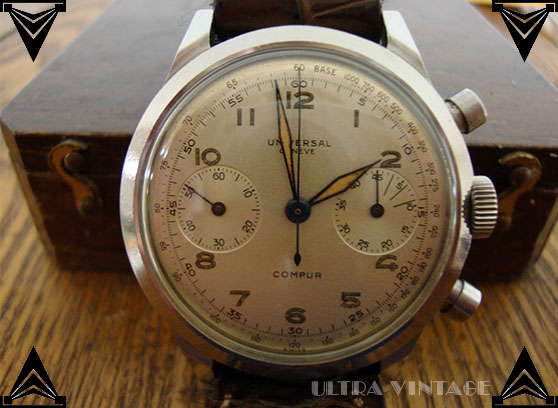 Universal Geneve Compur 2 Register Chronograph with World War II Soldier Engraving