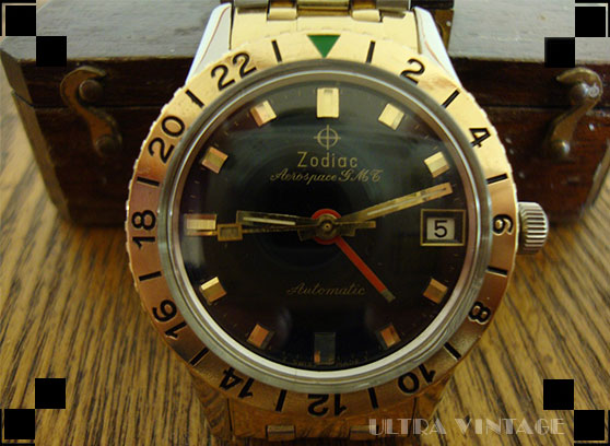 2-Tone Zodiac Aerospace GMT with Solid Gold Bezel
