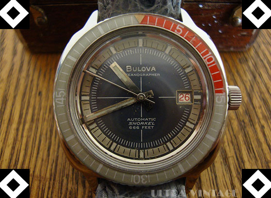 Bulova Oceanographer Snorkel 666ft Automatic with Gray/Red Acrylic Bezel