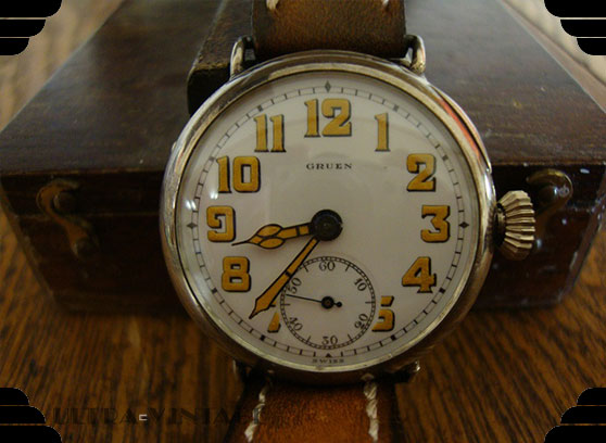 World War I Gruen Sterling Silver Trench Watch