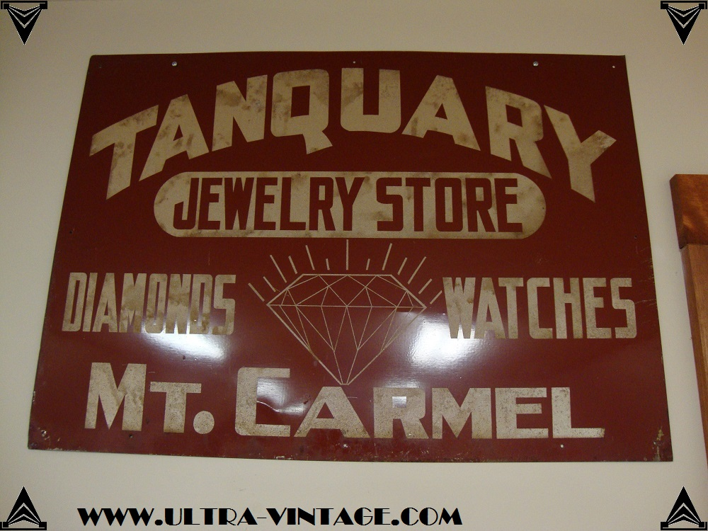Vintage Jeweler's Sign - Tanquary Jewelry Store Mt. Carmel Illinois