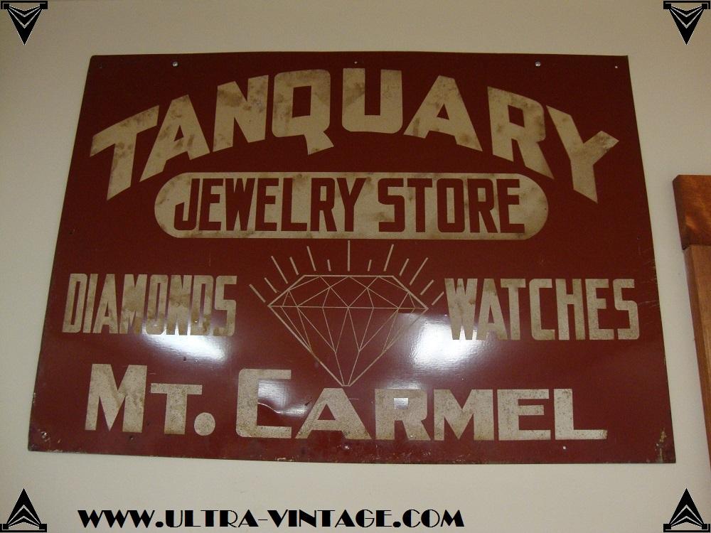 Vintage Jeweler's Sign - Tanquary Jewelry Store Mt. Carmel Illinois