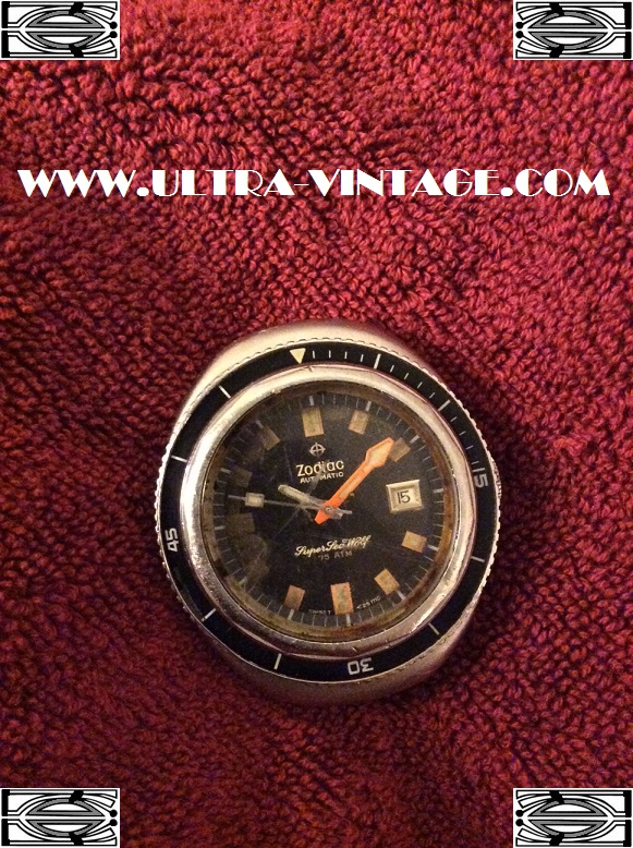 Zodiac Super Seawolf Automatic Before Restoration Rust Damaged Dial
